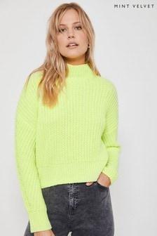 Mint Velvet Green Chunky Rib Boxy Knit Top