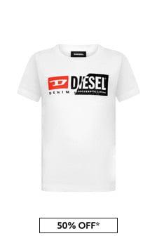 Diesel Boys White Cotton Jersey T-Shirt