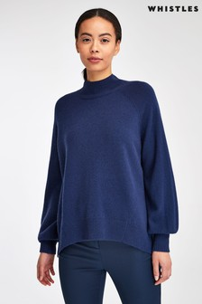 Whistles Navy Funnel Neck Cashmere Knit Jumper