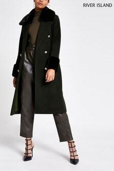 River Island Villanelle Faux Fur Cuff Robe Coat