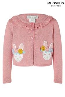 Monsoon Pink Organic Baby Pink Crochet Bunny Cardigan
