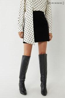 Warehouse Black Velvet Pelmet Mini Skirt