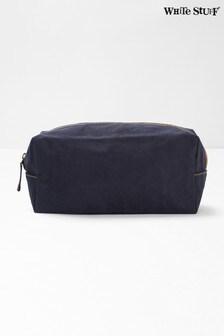 White Stuff Blue Waxed Canvas Wash Bag