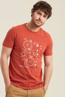 FatFace Orange Dismantled Bicycle Graphic T-Shirt