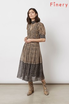 Finery London Black Spencer In Chain Texture Dress