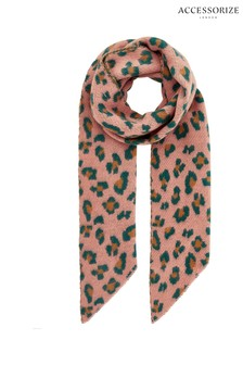 Accessorize Pink Mia Leopard Knit Scarf
