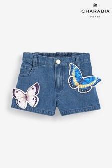 Charabia Blue Butterfly Denim Shorts