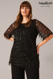 Studio 8 Black Peyton Sequin Fringe Top