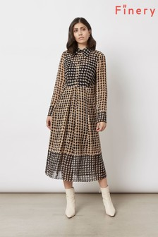 Finery London Black Norah Dotty Check Double Border Dress