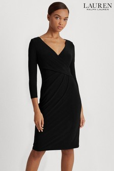 Lauren Ralph Lauren® Black Stretch Cleora Wrap Dress