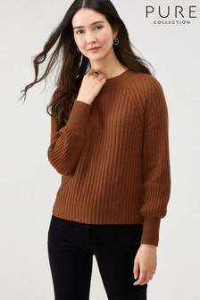 Pure Collection Brown Lofty Cashmere Ribbed Sweater