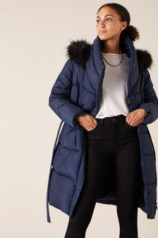 Monsoon Blue Patsy Sustainable Long Padded Coat