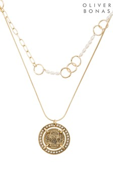 Oliver Bonas Enso Coin Charm Double Row Necklace