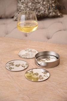 Libra Vienna Antique Gold Blossom Coasters