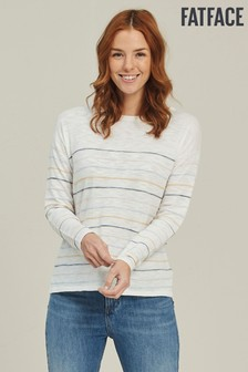 FatFace White Tilly Stripe Jumper