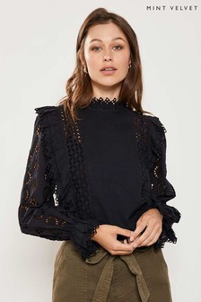 Mint Velvet Black High Neck Broderie Top