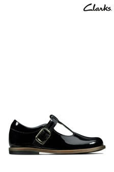 Clarks Black Drew Shine T Shoes