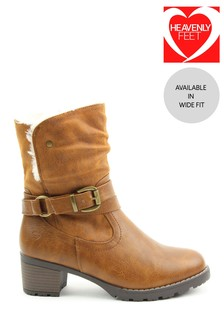 Heavenly Feet Tan Ladies Lace-Up Low-Calf Ankle Boots