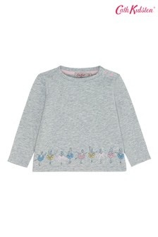 Cath Kidston Grey Baby Long Sleeve Ice Skaters T-Shirt