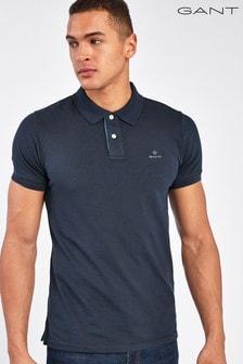 GANT藍色對比領口Polo衫