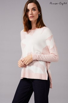 Phase Eight Pink Iana Intarsia Knitted Jumper