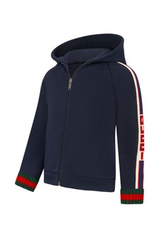 GUCCI Kids Baby Boys Navy Cotton Zip-Up Top