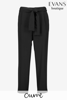 Evans Curve Black Soft Tie Front Tapered Trousers