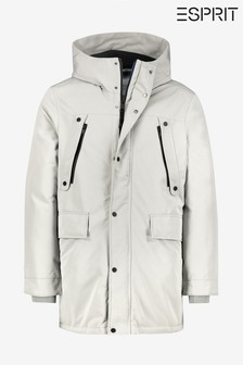 Esprit Grey Winter Parka With Contrast Zip