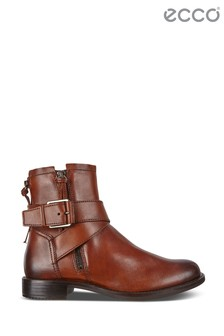 Ecco Camel Chesnut Ankle Boot With Buckle Detail