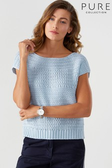 Pure Collection Blue Textured Cotton T-Shirt