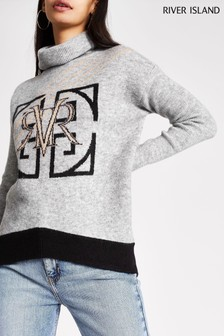 River Island Roll Neck McCartney Crest With X Colour Logo