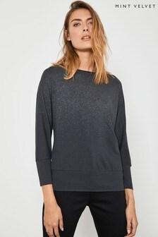 Mint Velvet Charcoal Glitter Ombre T-Shirt