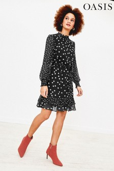 Oasis Black Spot Shirred Neck Skater Dress