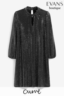 Evans Curve Silver Sequin Twist Neck Dress