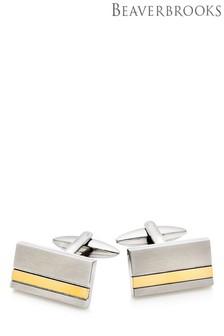 Beaverbrooks Stainless Steel Rose Gold Plated Stripe Cufflinks
