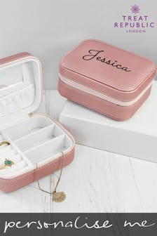 Personalised Pink Travel Jewellery Box by Treat Republic