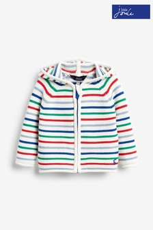 Joules White Conway Zip Through Hooded Jacket