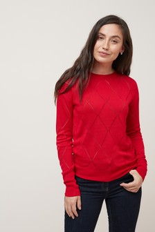 Argyle Pattern Boat Neck Jumper