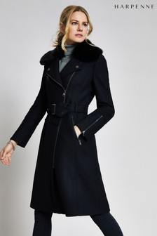 Harpenne Black Wool Blend Winter Coat