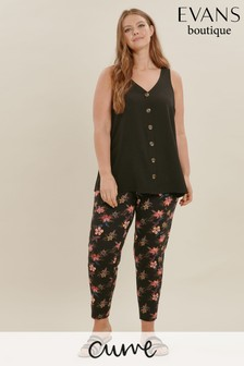 Evans Multi Dark Curve Floral Print Jersey Tapered Pyjama