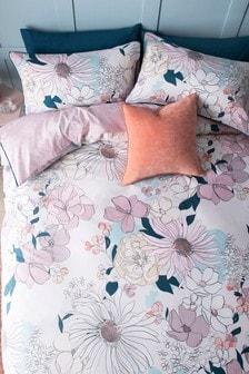 Linear Retro Floral Duvet Cover and Pillowcase Set