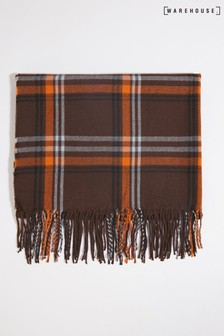 Warehouse Brown Large Check Scarf