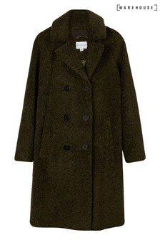 Warehouse Green Faux Fur Double Teddy Coat