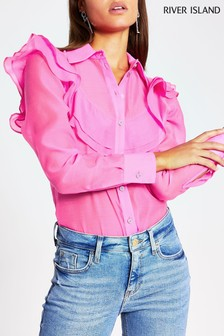 River Island Pink Bright Gauze Frill Front Shirt