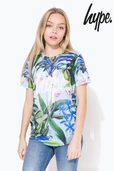 Hype. Blue Cyan Tropics Script Kids T-Shirt