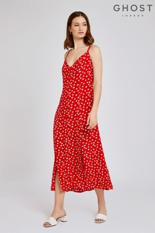 Ghost London Red Thea Luisa Flower Print Crepe Dress