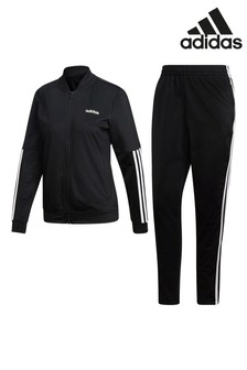 adidas Black Linear Back To Basic 3 Stripe Tracksuit