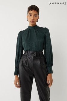 Warehouse Green Jacquard Tie Neck Top