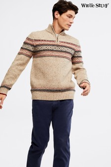 White Stuff Natural Tunstall Pattern Zip Funnel Neck Jumper