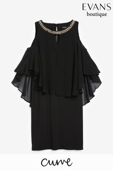 Evans Curve Gold Trim Cold Shoulder Dress